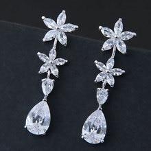 2018 Ladies Summer Silver Color Big water Drop Cubic Zirconia Luxury shiny flower wedding Earrings Jewelry ER566