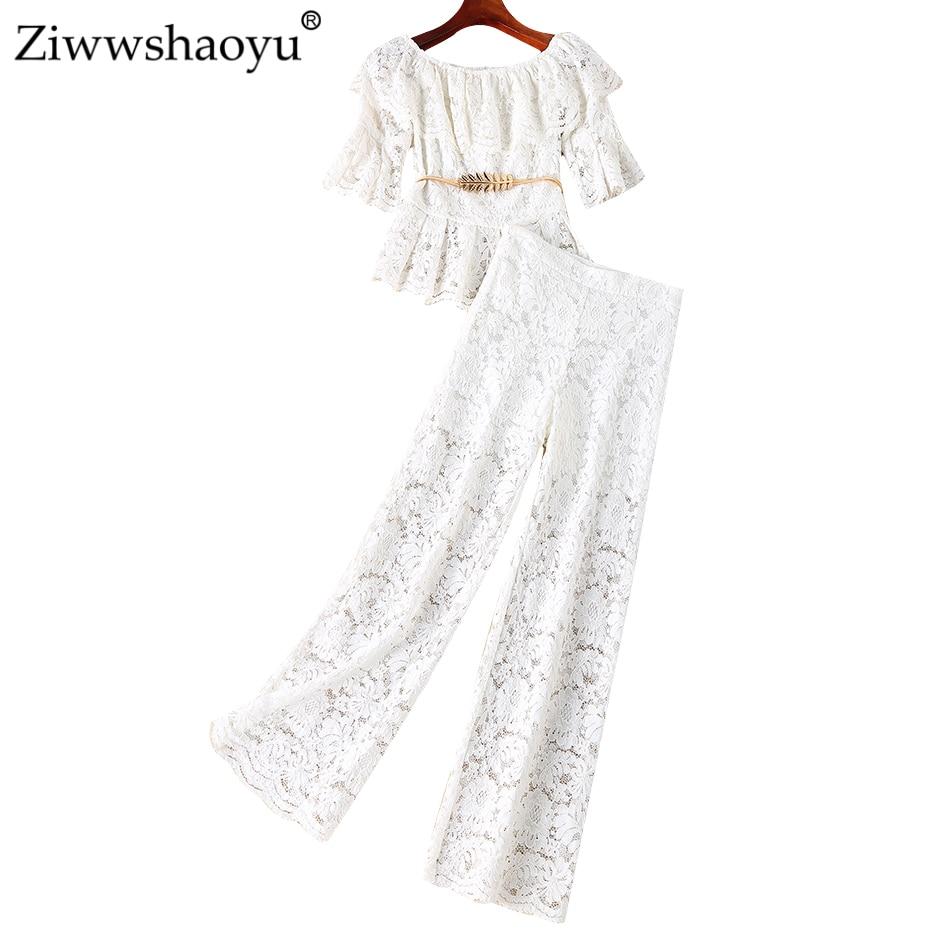 Ziwwshaoyu Sexy Encolure Bretelles manteau + Large jambe pantalon soluble dans L'eau de fleur élégant Ensemble printemps et d'été nouvelles femmes ensemble
