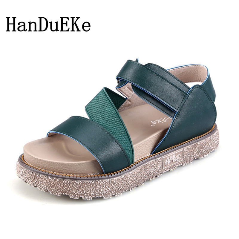 HanDuEKe New 2018 Women Platform Sandals Summer Rome Fashion Genuine Leather Gladiator Sandals Casual Beach Shoes Woman Sandals choudory bohemia women genuine leather summer sandals casual platform wedge shoes woman fringed gladiator sandal creepers wedges