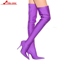 2019 Winter Summer Sexy Thigh High Boots Satin Stretch Elastic Over The Knee Slim High Heels Long Boots Women Shoes size 34- 48 summer leopard sexy thin high heels boots satin stretch elastic over the knee sky blue slim high heels long boots women shoes