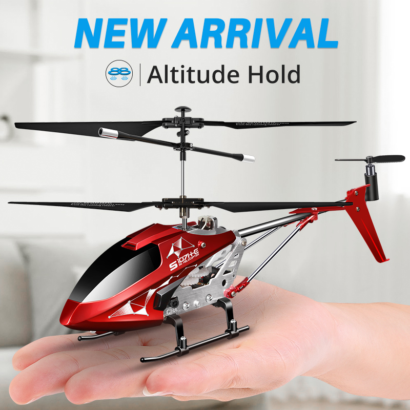 Syma S107H-E New Metal Mini Drone One-key Flight Rc Helicopters For Kids Grownups Toys Outdoor Funny Dron 2.4Ghz Remote