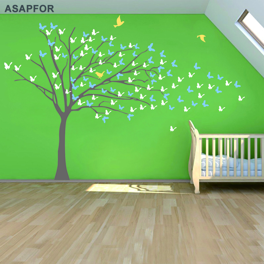 Huge White Tree and Birds Stickers Butterflies on the Wall Decals Decoration for Living Room Landscape Nursery Bedroom Wall Art +