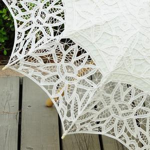 Image 3 - Fashion Sun Umbrella Cotton Embroidery Bride Umbrella White Ivory Battenburg Lace Parasol Umbrella Wedding Umbrella Decorations