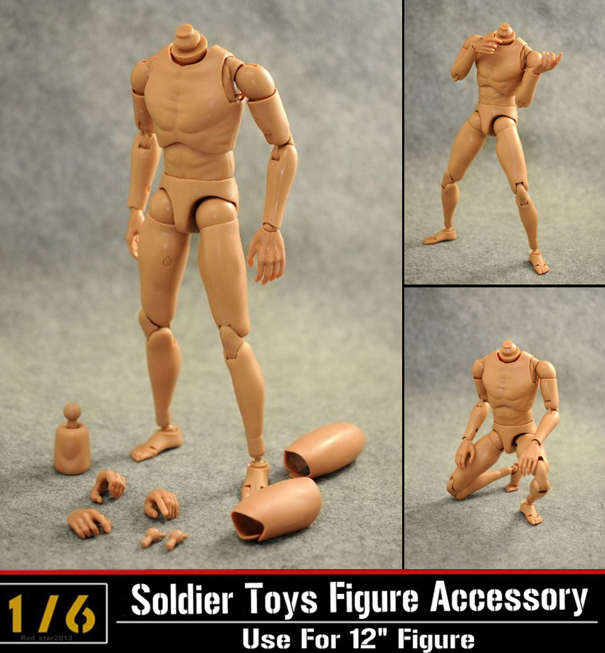 1:6 Scale Nude Body Action Figure Male Muscular Body Caucasian Soldier Story Model Accessory for 12 Dragon Action Figure Toy image