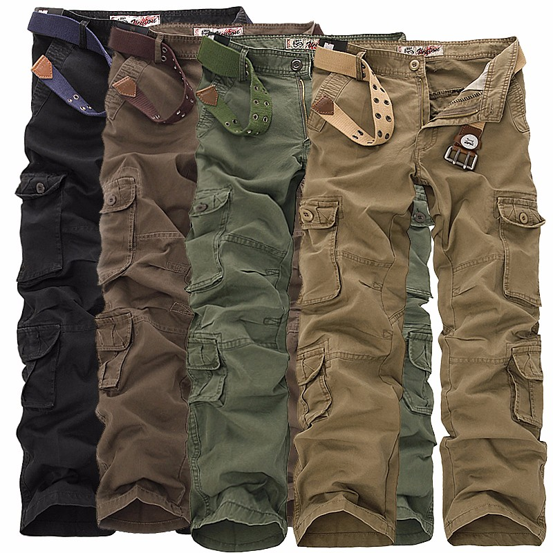 Cargo-Pants Trousers Overalls Multi-Pocket Military-Style Long-Baggy Straight Large-Size