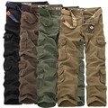 Tamanho grande 40 42 44 Novo 2016 Homens Moda Militar estilo de Multi Bolso da Calça de Carga Casual calças Retas Longas Largas Macacão calças
