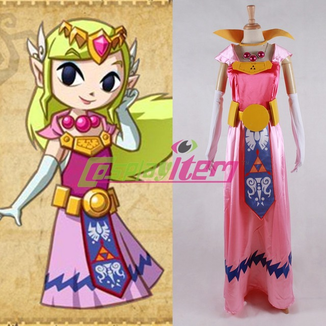 Customized movie The Legend Of Zelda The Wind Waker Princess Zelda Cosplay  Costume for women