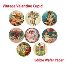 Vintage Cupido obleas comestibles de papel para el Día de San Valentín decoración para pastel herramientas de Decoración de Pastel Festival de cocina para hornear suministro
