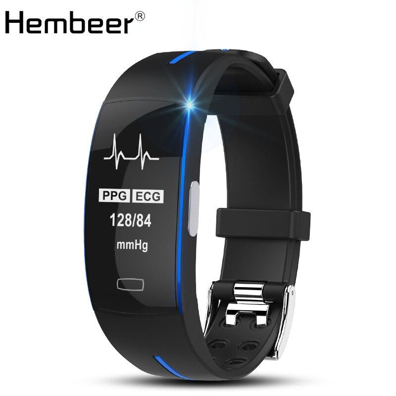 Hembeer P3 Banda Intelligente ECG Monitor di Pressione Sanguigna Orologio in tempo Reale della Frequenza Cardiaca di Sport Fitness Tracker Braccialetto Intelligente per IOS Android
