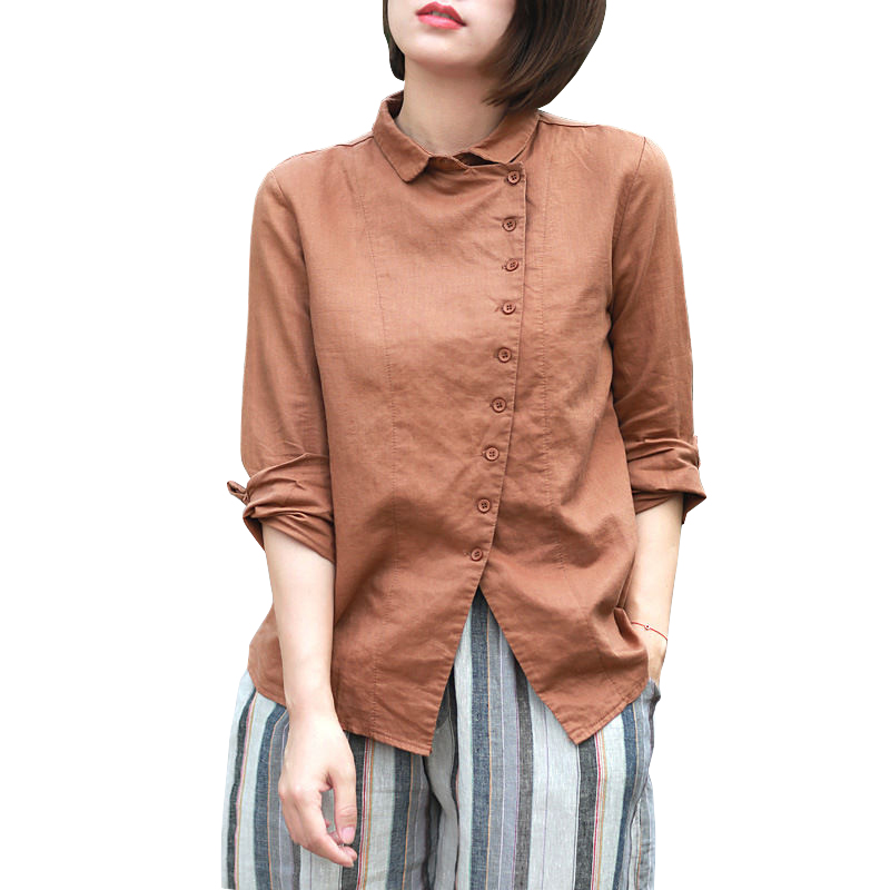 Johnature Women Vintage Shirt 2018 Spring New Cotton Linen Shirts