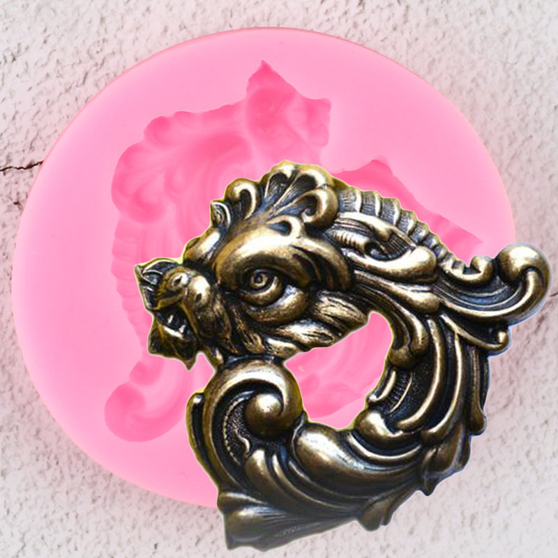 3D Dragon Silicone Mold Scroll Relief Medallion Border Fondant Molds DIY Cake Decorating Tools Candy Chocolate Gumpaste Mould