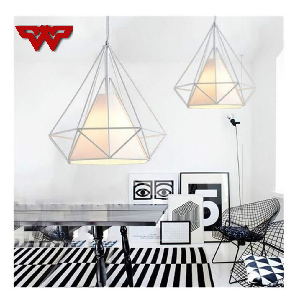 Nordic Modern Iron Diamond Chandelier Three head Disc Long Pole Industrial Retro Dining Table Dining Room Chandelier
