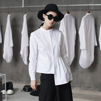 Cakucool Runway Design White Blouse Shirt Women Long Sleeve O Neck Top Blusas Casual Brief Style