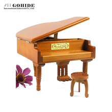 Gohide Fashion Design Solid Wooden Piano Music Box Musical Gift Lovely Creative Design Music Box with Piano Style Gift for Girls