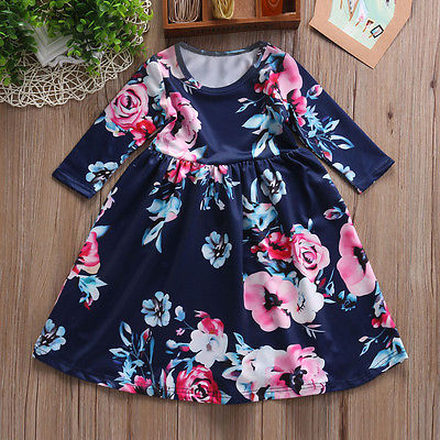 Summer Autumn Flower Girls Princess Dress Kids Baby Girl Long Sleeve Blue White Pink Floral Party Pageant Dress Outfits Clothes girls short in front long in back purple flower girl dress summer 2017 girl formal dress kids party princess custume skd014283