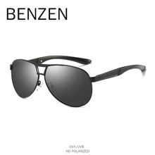 BENZEN Polarized Sunglasses Men Alloy Male Sun Glasses Classic Pilot Driving Glasses Goggles Eyewear UV Protection Black 9353(China)