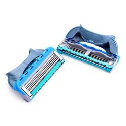 4 шт./партия, 5 слоев кассеты для бритья, бритвенное лезвие для мужчин, бритва для лица, подходит для безопасного бритья и удаления волос