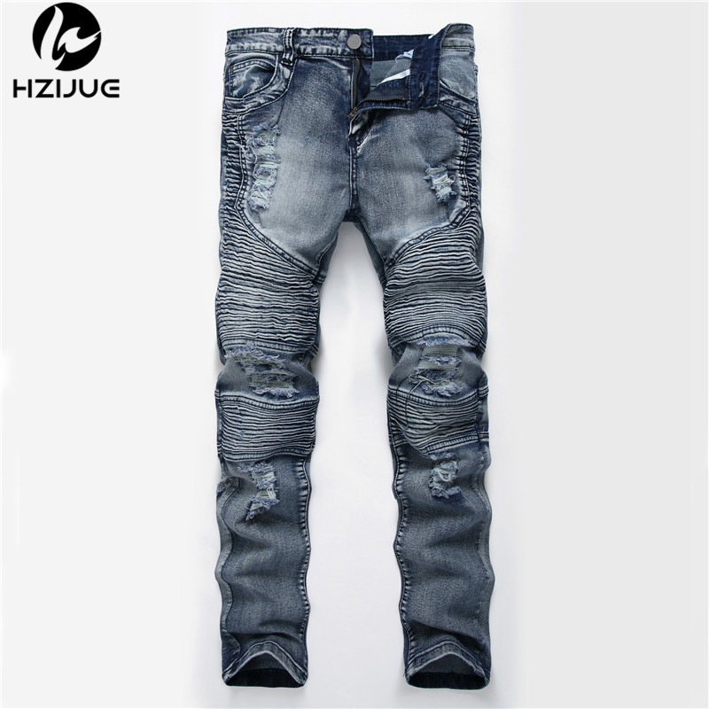 HZIJUE new Fashion Ripped Straight Jeans Men Slim Printed Jeans Men's Tide Brand Hole Denim Fabric Hip Hop Pants Casual 4 colors 2017 ripped straight jeans men slim fit zipper jeans men s hole denim fabric hip hop skinny cotton white blick pants casual mens