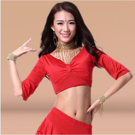 New Arrival Milk Silk Belly Dance Top Momen Half Sleeves Belly Dance Tops 9 Colors Sexy Tops
