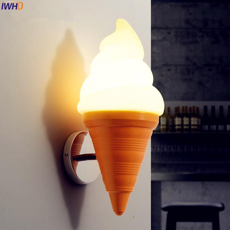IWHD Ice Cream Modern Wall Lamp Carton Children Room Bar LED Wall Light Sconce Fixtures Arandelas Lampara Pared