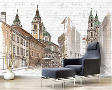 beibehang Interior painting personalized retro wallpaper Hand painted European city Nordic background papel de parede wall paper