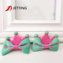JETTING-1Pcs Brand New Cute Kid Girl Crown Molding Hairpin Hair Clips Princess Barrette Ribbon Candy Color BB Hairpins(China)