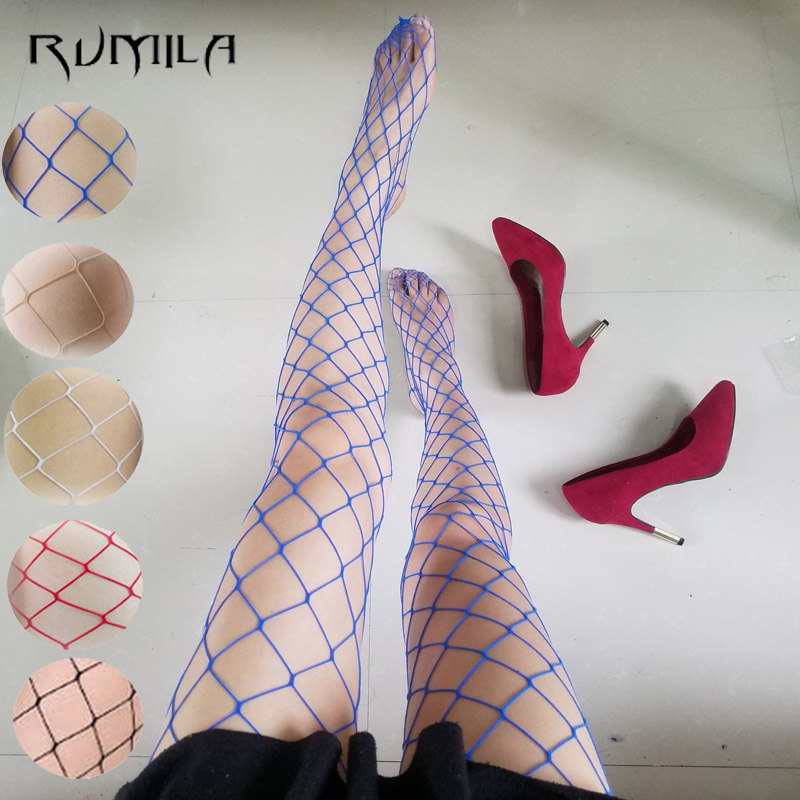 Blue Red SEXY Women High Waist Fishnet Stocking Fishnet Club Tights Panty Knitting Net Pantyhose Trouser Mesh Lingerie TT016