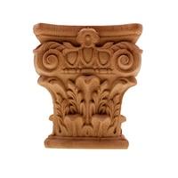 DIY Vintage European Unpainted Wood Carved Decal Corner Onlay Applique Frame for Home Furniture Cabinet Door Fireplace Decor