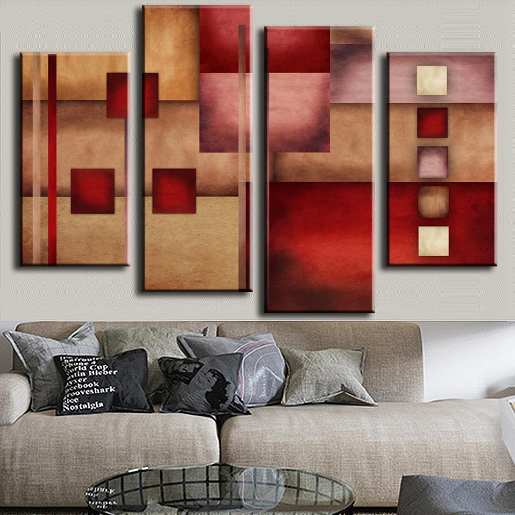 aliexpresscom  buy  pcsset combined abstract canvas art red  - aliexpresscom  buy  pcsset combined abstract canvas art red beige canvaswall picture decoration home modern canvas oil art prints from reliable