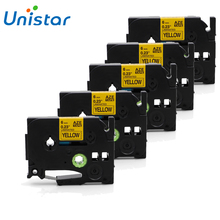 UNISTAR 5PCS For Brother P-touch Label Maker Printer Tape 6mm Tze Tz 611 Tze611 Tze-611 Tz611 Tz-611 Black on Yellow Tze P touch brother tz e233