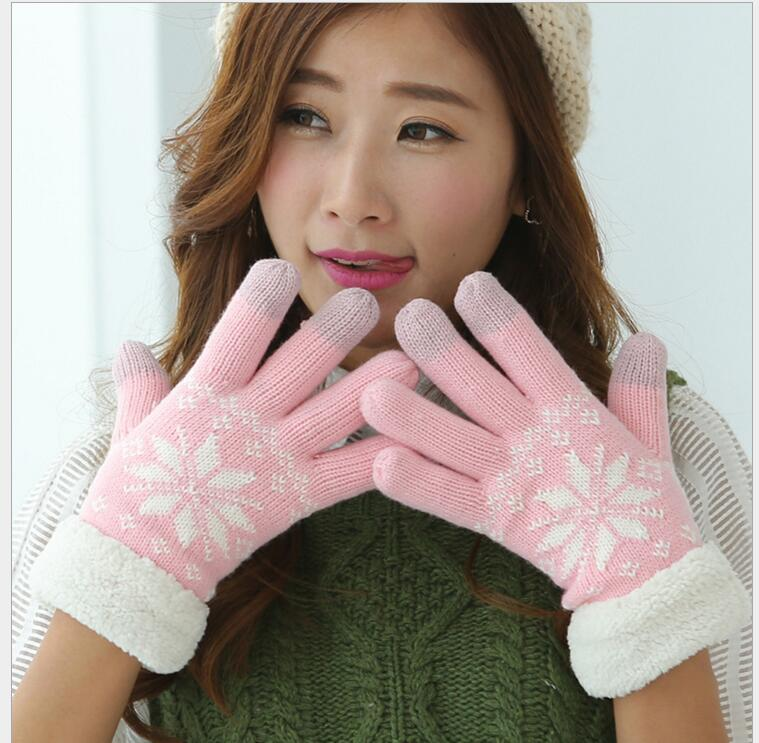 50pcs/lot! Knitted Touch Screen Gloves Women Winter Warm Touchable Screen Gloves Snowfake Knitted Finger Warmer Gloves