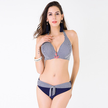 2016 Factory Direct Sale Plus Size Triangle Bikini Set D/E/F Cup Swimwear Striped Very large Swimsuit