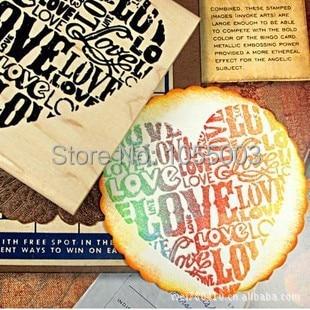 DIY Scrapbooking Korea Big Size DIY Scrapbooking Heart Alphabet Stamps Vintage Wood Rubber Ink Pad Stamp Album Stamp
