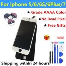 Черный/белый в сборе ЖК дисплей дигитайзер для iPhone 6S AAAA Качество ЖК сенсорный экран для iPhone 6 7 5s 6 plus без битых пикселей