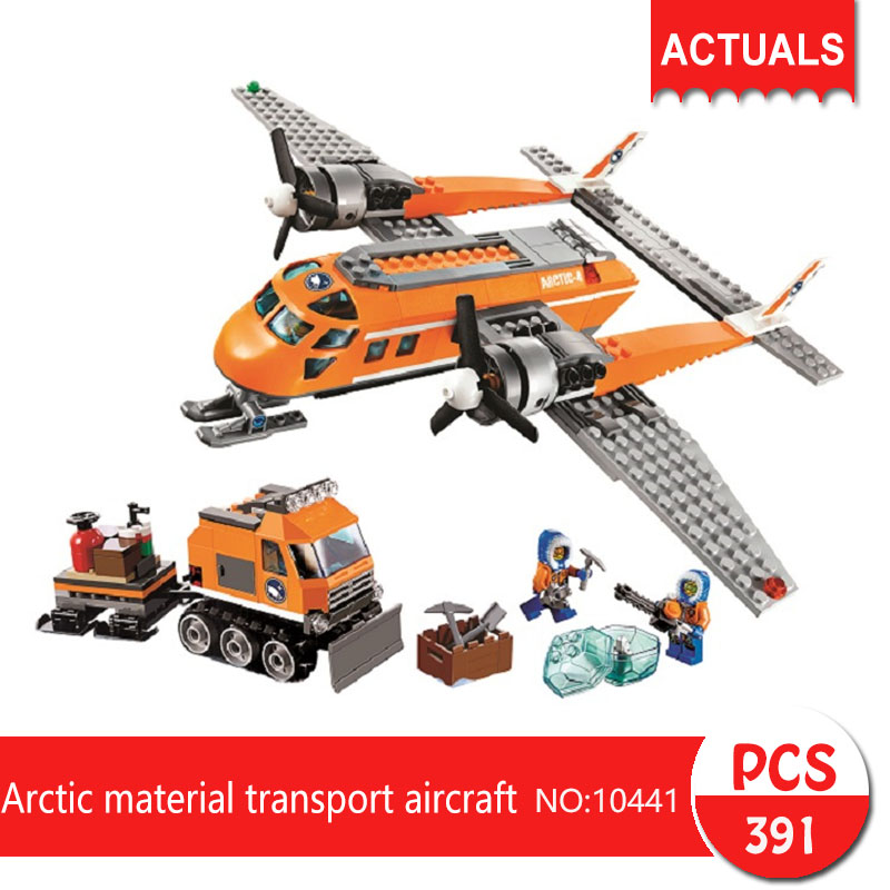 Lepin bela 10441 391Pcs City series Arctic material transport aircraft Model Building Blocks Set Bricks Toys For Children 60064 bela 10439 compatible lepin city arctic helicrane building blocks policeman figure toys for children girls