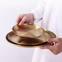 Western stek okrągła taca ekologiczna 304 ze stali nierdzewnej płytkie talerze złote naczynia okrągły talerz zastawa stołowa