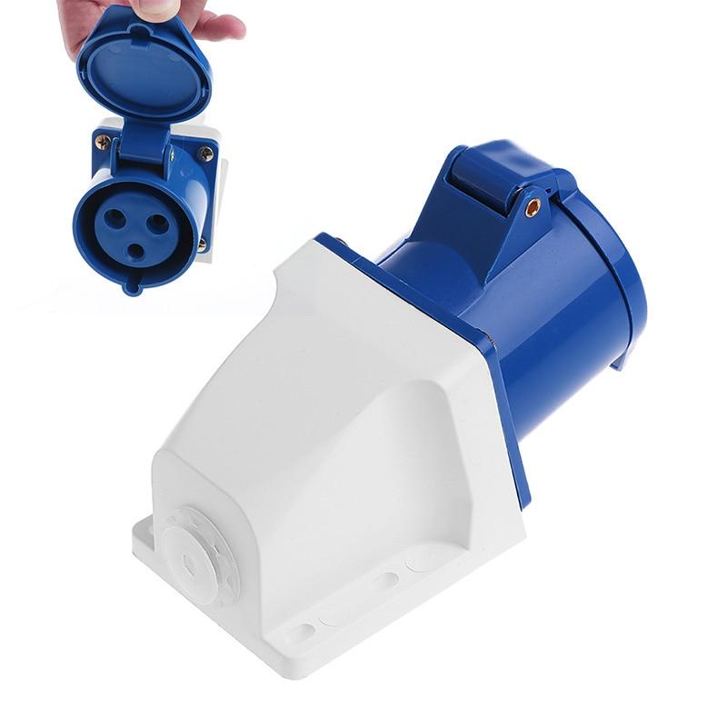 32 Amp 3pin Industrial Socket 220V-250Volt Weatherproof IP44 Waterproof 2P+E 32A 63a 3pin 220 240v industrial waterproof hidden oblique socket waterproof grade ip67 sf 433