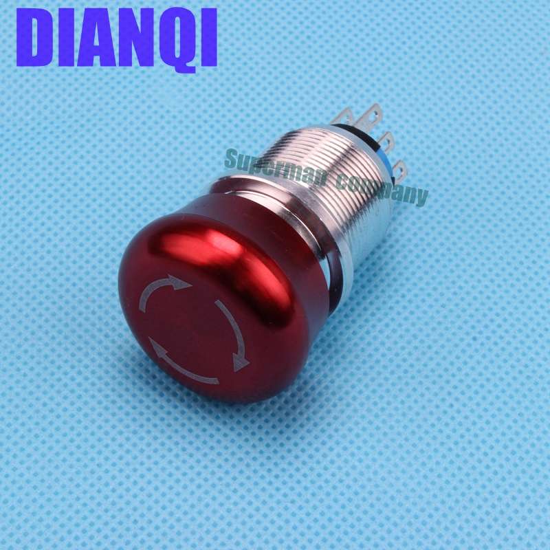 Free shipping 22mm aluminum Emergency stop switch Push Button Switch latching 2NO 2NC Car button pin terminal 22JT/L.S.2K2B ac 600v 10a normal close plastic shell red sign emergency stop mushroom knob switch 22mm elevator emergency stop switch