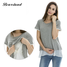 Maternity Nursing Tops Breastfeeding clothes for Pregnant Women Fashion False two Pieces Chiffon Double Layer Summer Tee 3 color