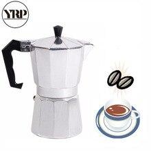 YRP Mocha латте Кофеварка итальянская Мока эспрессо Cafeteira Percolator горшок 1 чашка/3 чашки/6 чашек/9 чашек/12 чашек плита кофеварка