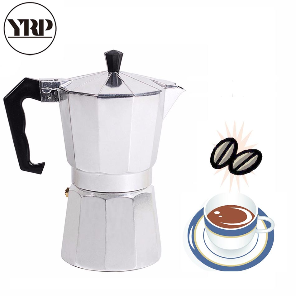 YRP Mocha Latte Coffee Maker Italian Moka Espresso Cafeteira Percolator Pot 1cup/3cup/6cup/9cup/12cup Stovetop Coffee Maker