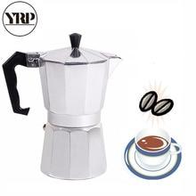 купить YRP Mocha Latte Coffee Maker Italian Moka Espresso Cafeteira Percolator Pot 1cup/3cup/6cup/9cup/12cup Stovetop Coffee Maker по цене 416.84 рублей