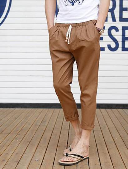 Мужские летние плюс Размеры Повседневное середины лодыжки-длина брюки эластичный пояс свободные брюки карандаш Для мужчин Лен дышащий карандаш капри - Цвет: 5