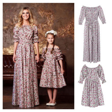 цена на ZOGAA 2019 Summer Belt Sleeved Dress Mommy and Me Clothes Print Floral Off Shoulder Maxi Dress Family Matching Outfits