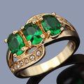Оптовая Продажа R014YGE Brand New женские Украшения Нобби Зеленый Камень Желтого Золота Заполненные Летие Кольцо