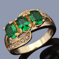 Wholesale Sale R014YGE Brand New Jewelry Women's Nobby Green Stone Yellow Gold Filled Anniversary Ring