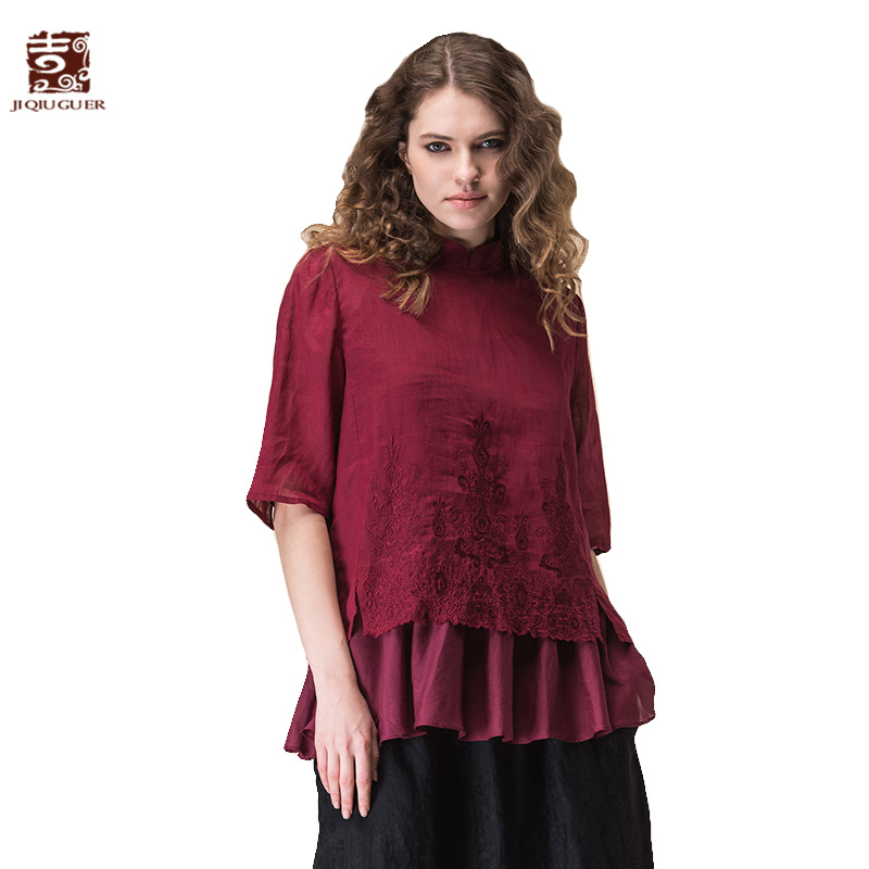 Jiqiuguer Women Two Pieces Short Tops Vintage Stand Collar Half Sleeve Ruffles Embroidery Summer Ladies Blouses Shirts G172Y074