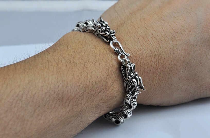 Prata pura thai 925 jóias de prata cruz link dragão vintage grosso pulseira chain & link homem masculino s925 pulseira