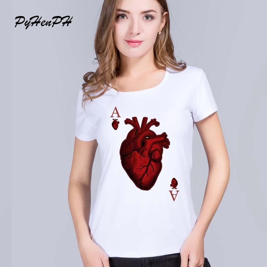 ᓂPyhenph camisas femininas 2016 Nueva Harajuku poker corazón patrón ...