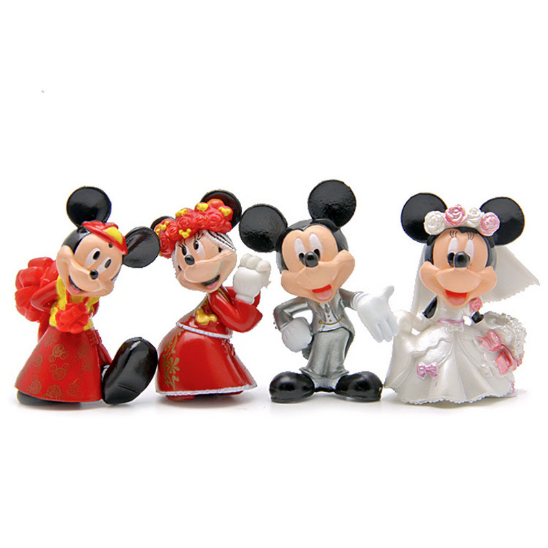 4pcs/lot Mickey & Minnie Figures Wedding Style Mickey Minnie PVC Action Figure Toys Doll Collection Model Toy for Wedding Decor cute doraemon figures toys pvc figure doll can use for phone